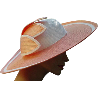 Yummy Peach and White Wide Brimmed Picture Hat
