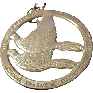 Wallace 1978 Peace on Earth Sterling Christmas Ornament, Two Doves