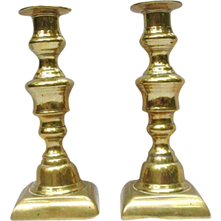 Excellent Pair of Brass Push-Up Candlesticks with Push-Ups Intact