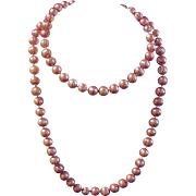 Lustrous Single Strand of Pink Baroque Cultured Pearls