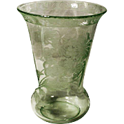 Green Crystal Etched Vase, Elegant Glass Era