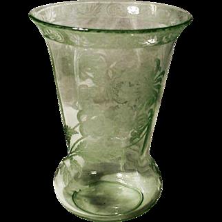 Green Crystal Etched Vase, Elegant Glass Era