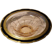 Pink Elegant Depression Glass Console Bowl, Gold and Black Rim Decoration