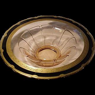 Pink Elegant Depression Glass Console Bowl, Gold and Black Rim Decoration
