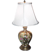 Japanese Porcelain Lamp with Overall Floral and Geometric Decoration, Gold Accents