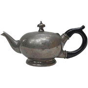 Vintage Pewter Teapot, Ebonized Wood Handle