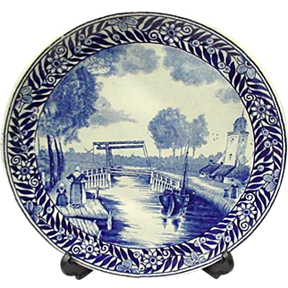 Vintage Delft Plate with Landscape Scene