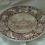 English Staffordshire Brown Transferware Plate, De Soto's Discovery of Mississippi 1541