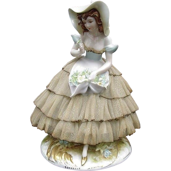 Exquisite Porcelain Figurine of Young Woman in Four-Tiered Lace Dress, Picture Hat