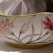 Vintage Porcelain Centerpiece Bowl Decorated with White, Pink & Rust Carnations