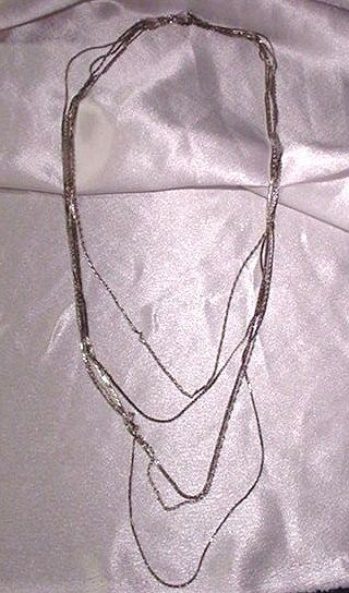 Vintage Monet Five-Strand Silvertone Necklace