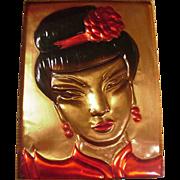 Fabulous California Copper Plaque of Chinese Girl, Wanda Irwin Original, 1948