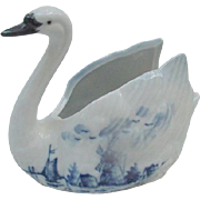 Delft Porcelain Swan, Windmill and Lake Scene on Wing