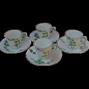 Fine Bone China Demitasse Cups and Saucer, England, Deco Era