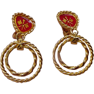 Robert Rose Vintage Nautical Theme Clip Earrings