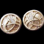 Vintage Carolee Clip Earrings, Gold-Tone Circles & Rhinestones
