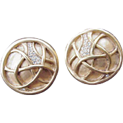 Vintage Carolee Clip Earrings, Gold-Tone Circles & Rhinestones