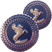 Gold Tone Cuff Links with Pegasus, The Flying Horse Image
