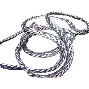 "Sterling Necklace, Heavy Rope Weave Chain, 23"" Long"