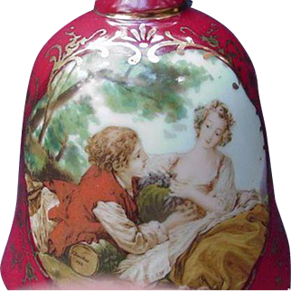 Vintage Porcelain Bell, Rose Pink Background, Courting Couple in Reserve, Japan