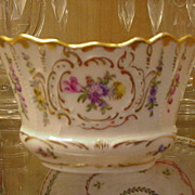 Dresden Porcelain, Germany, Schoenau Bros., Hand-Painted Basket, Multi-Colored Flowers