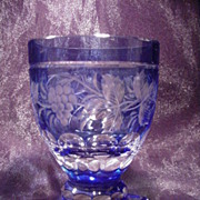 Cobalt Cut to Clear Wine Glass, Grape & Vine Motif, Square Base