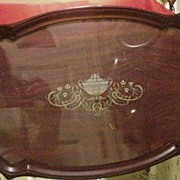 Large Vintage Mahogany Serving Tray w Glass Overlaying Painted Surface