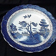 """Booth's Real Old Willow Plate, 10"""" Dinner, Scalloped Rim, England"""