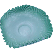 Blown Cased Glass Bowl, Green and White, Crimped Rim