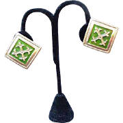 Metropolitan Museum of Art Clip Earrings, Gold Tone Square with Cross Fleury in Center
