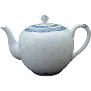 Vintage Blue and White Rice Design Asian Teapot