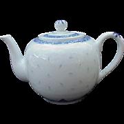 Vintage Blue and White Rice Design Asian Teapot