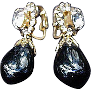 Hattie Carnegie Clip Earrings, Onyx and Rhinestones