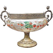 Strawberry Decorated Blown Glass Compote Seated in Ornate Metal Pedestal Framework
