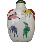 Chinese Snuff Bottle Decorated with Lion's Heads and Horses