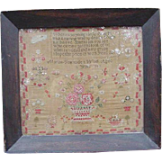 1840 Antique Sampler, Verse on Linen with Large Floral Basket by Martha Fearnside, Age 11