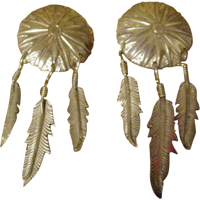 Mexico Sterling Clip Earrings with Three Feathers Hanging from Shield
