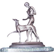 Ignacio Gallo Bronze Sculpture of Nude with Greyhound