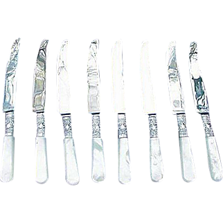Eight Sheffield, England, Silverplated Fruit Knives with Mother of Pearl Handles