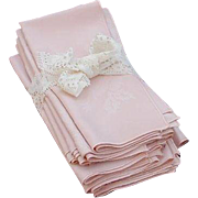 12 Large Pink Damask Napkins with Rose Design