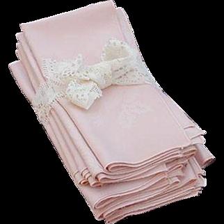 12 Large Pink Damask Napkins with Rose Design