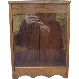 Vintage Counter-Top Wood Display Cabinet with Glass Front