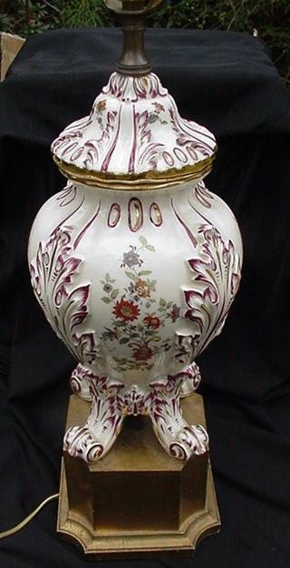 Ornate Ceramic Covered Jar  with  Floral Sprays, Gold Accents, Made into Lamp
