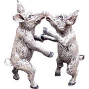 Cold Painted Bronze Dancing Pigs