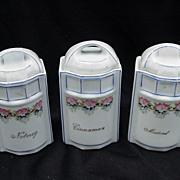 Three German Porcelain Spice Containers, Cinnamon, Nutmeg, Mustard