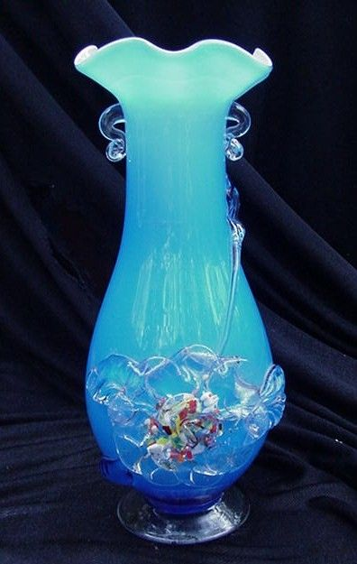 Art Glass Vase, Blue with Applied Clear Flower, Handles, Foot