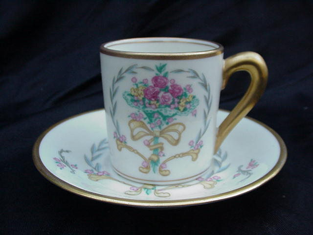 Fine Concorde China Demitasse Cup and Saucer with Nosegay Decoration