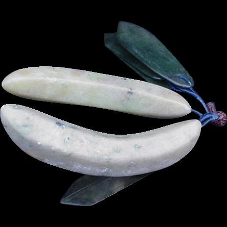 Vintage Cluster of Hardstone Jade Bananas