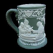 Fabulous Jasperware Stein with High Relief Tavern Scenes, Monks