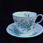 Royal Albert English Bone China Cup and Saucer, Blue Flowers